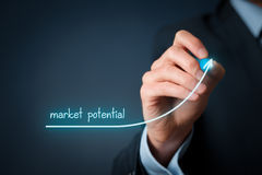 Market potential increasing. Increase market potential for your business. Businessman draw growing line symbolize growing market potential royalty free stock photo