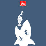Market prices. Competitive price, fish bait Royalty Free Stock Photography