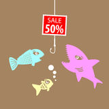 Market prices. Competitive price, fish bait Stock Images