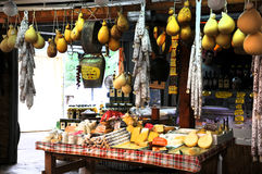 Market in Puglia. Different cheese and typical other products on a market in Puglia, Italy. This cheese is typical for this region and it is normal that you can royalty free stock images