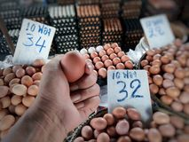 Many prices and sizes of eggs in the market Royalty Free Stock Image