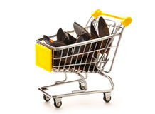 Market pushcart with sea mussels Royalty Free Stock Image