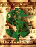 The Market Puzzle. A green puzzle piece $ sign hangs over sepia toned puzzle piece bills with words representative of stock market and other money making Vector Illustration