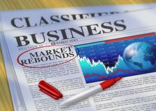 Market Rebounds. Digital illustration of Market Rebounds headline circled with a red marker in the Business section of the news paper Royalty Free Stock Image
