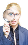 Market Research. Sees The Eye Of A Cheerful Business Woman Peer Through The View Of A Magnifying Glass Lens In A Investigation Analysis And Company Survey Image Stock Photo