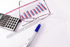 Market research. A paper with a market research chart of sales of one business year royalty free stock photo