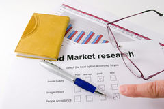 Market research. A paper with a market research chart of sales of one business year stock photo