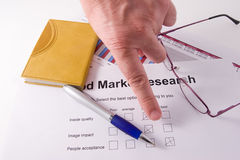 Market research. A paper with a market research chart of sales of one business year royalty free stock photography