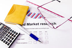 Market research. A paper with a market research chart of sales of one business year stock photos