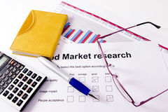 Market research. A paper with a market research chart of sales of one business year stock images