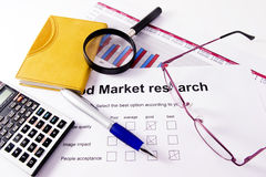 Market research. A paper with a market research chart of sales of one business year stock image