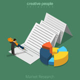 Market Research business 3d Flat isometric man on. Flat isometric Businessman working with document on paper sheet vector illustration Stock Photos