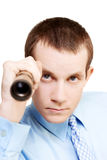 Market research business man on white background Stock Photo
