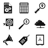 Market research icons set, simple style. Market research icons set. Simple set of 9 market research vector icons for web isolated on white background Royalty Free Stock Images