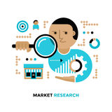 Market Research. Illustration of man researching and analyzing data from target market. Modern flat design concept of market research Stock Photography