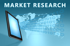 Market Research. Illustration with tablet computer on blue background Royalty Free Stock Photography