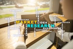 Market research words cloud on the virtual screen royalty free stock photo