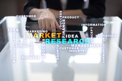 Market research words cloud on the virtual screen Royalty Free Stock Image