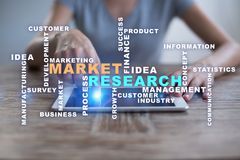 Market research words cloud on the virtual screen. Market research words cloud on the virtual screen stock photography