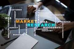 Market research words cloud on the virtual screen. Market research words cloud on the virtual screen royalty free stock photos
