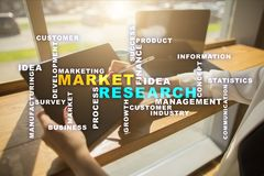 Market research words cloud on the virtual screen. Market research words cloud on the virtual screen stock image