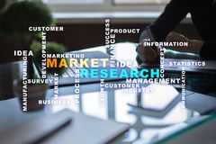 Market research words cloud on the virtual screen. Market research words cloud on the virtual screen royalty free stock photography