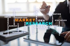 Market research words cloud on the virtual screen. Market research words cloud on the virtual screen stock photos
