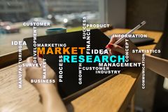 Market research words cloud on the virtual screen. Market research words cloud on the virtual screen stock images