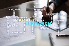 Market research words cloud on the virtual screen. Market research words cloud on the virtual screen royalty free stock photo