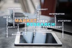 Market research words cloud on the virtual screen. stock photos