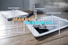Market research words cloud on the virtual screen. Market research words cloud on the virtual screen royalty free stock image