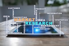 Market research words cloud on the virtual screen. royalty free stock image