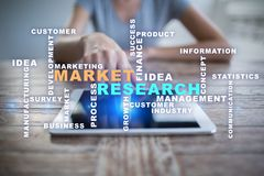 Market research words cloud on the virtual screen. royalty free stock photography