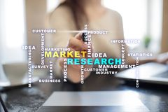 Market research words cloud on the virtual screen. royalty free stock images
