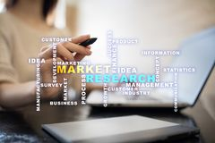 Market research words cloud on the virtual screen. stock photography