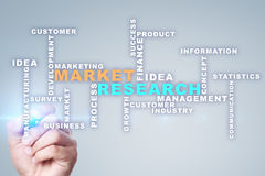 Market research words cloud on the virtual screen. Stock Image