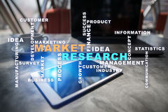 Market research words cloud on the virtual screen. Stock Photo
