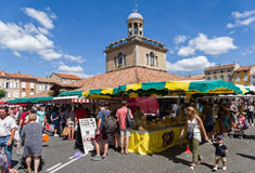 Market in Revel, France Stock Image