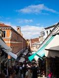The Market at Rialto bridge, Venice, Italy. The Market at Rialto bridge with blue sky , Venice, Italy Royalty Free Stock Image