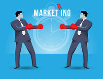 Market ring business concept. Two businessmen standing against each other, wearing boxer gloves and ready to fight. Time is ticking and fight will begin Royalty Free Stock Image
