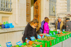 Market scene in Beaune Royalty Free Stock Images