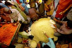 Market scene in Mysore. India with customers buying flowers for a celebration Royalty Free Stock Image