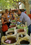 Market scene, Provence, France. French style shopping: outdoor market vegetable stand, Provence Royalty Free Stock Images