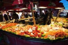 Market scene at the Rialto Street Market in Venice Royalty Free Stock Photos