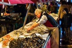 Market scene at the Rialto Street Market in Venice Royalty Free Stock Photo