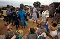 Market scene in a village, Uganda Royalty Free Stock Photos