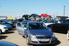 Market of second hand used cars in Kaunas city. KAUNAS, LITHUANIA - MARCH 29 2014:  Market of second hand used cars in Kaunas city.  On March 29, 2014 in Kaunas Royalty Free Stock Photography