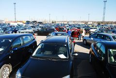 Market of second hand used cars in Kaunas city. KAUNAS, LITHUANIA - MARCH 29 2014:  Market of second hand used cars in Kaunas city.  On March 29, 2014 in Kaunas Royalty Free Stock Photo