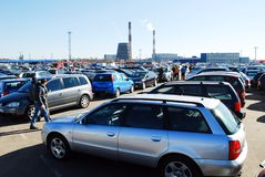 Market of second hand used cars in Kaunas city Stock Photography
