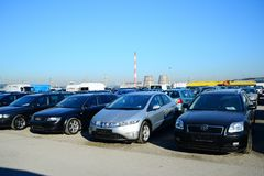 Market of second hand used cars in Vilnius city Royalty Free Stock Photo